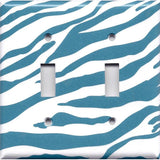 Double Light Switch Cover in Turquoise Blue & White Zebra Animal Print Handmade- Simply Chic Gal