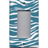 Single Rocker Decora GFCI Outlet Cover in Turquoise Blue & White Zebra Animal Print Simply Chic Gal