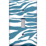 Single Light Switch Cover in Turquoise Blue & White Zebra Animal Print Handmade- Simply Chic Gal
