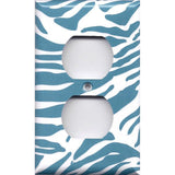 Wall Decor Outlet Cover in Turquoise Blue & White Zebra Animal Print Handmade- Simply Chic Gal