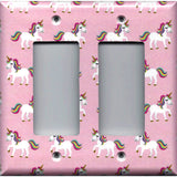 Double Rocker Decora Light Switch Cover in Rainbow Unicorns on Light Pink Girls Bedrom Decor