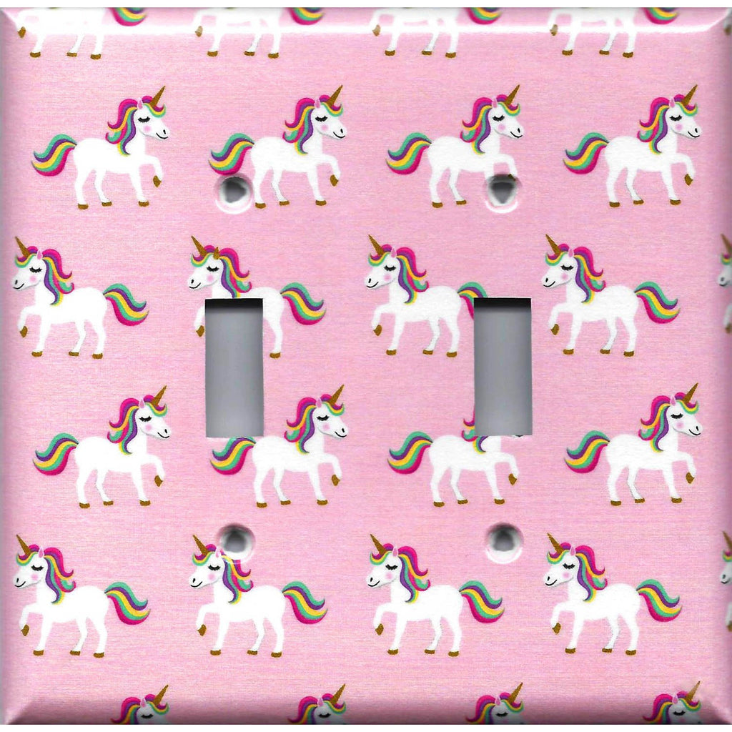 Rainbow Unicorn Pink Girls Room Unicorns Light Switch Covers & Outlet Covers Handmade Home Decor