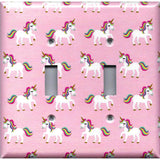 Double Toggle Light Switch Cover in Rainbow Unicorns on Light Pink Girls Bedrom Decor