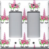 Double Rocker Decora Light Switch Cover in Pink Unicorn Horn & Flower Crown Girls Bedroom Decor