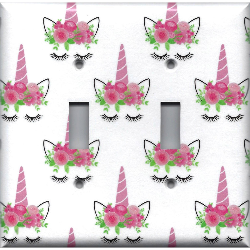 Double Toggle Light Switch Cover in Pink Unicorn Horn & Flower Crown Girls Bedroom Decor