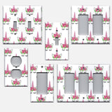 Pink Unicorn Horn & Flower Crown Light Switch Plates & Outlet Covers