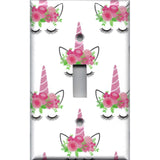 Single Toggle Light Switch Cover in Pink Unicorn Horn & Flower Crown Girls Bedroom Decor