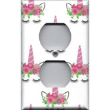 Wall Outlet Plate Cover in Pink Unicorn Horn & Flower Crown Girls Bedroom Decor