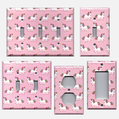 Rainbow Unicorns on Light Pink Light Switch Covers & Outlet Covers