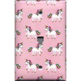 Phone Jack Cover in Rainbow Unicorns on Light Pink Girls Bedrom Decor