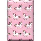 Single Blank Cover in Rainbow Unicorns on Light Pink Girls Bedrom Decor