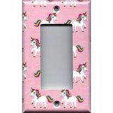Single Rocker Decora GFI Outlet Cover in Rainbow Unicorns on Light Pink Girls Bedrom Decor