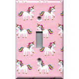 Single Toggle Light Switch Plate Cover in Rainbow Unicorns on Light Pink Girls Bedrom Decor