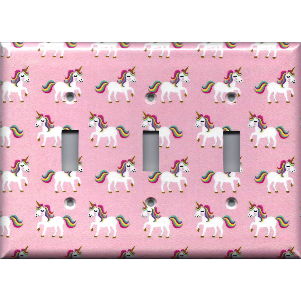 Triple Light Switch Plate Cover in Rainbow Unicorns on Light Pink Girls Bedrom Decor