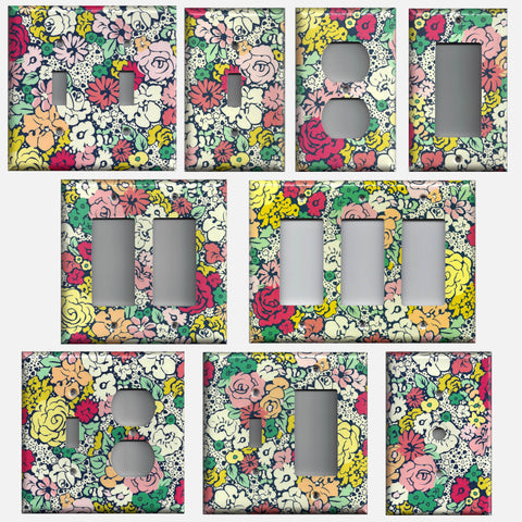 Vintage Inspired Art Deco Floral Pink Navy Blue Yellow Light Switch Plates & Outlets