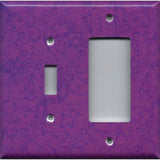 Combo Light Switch and Rocker Cover in Violet Purple Floral Swirls