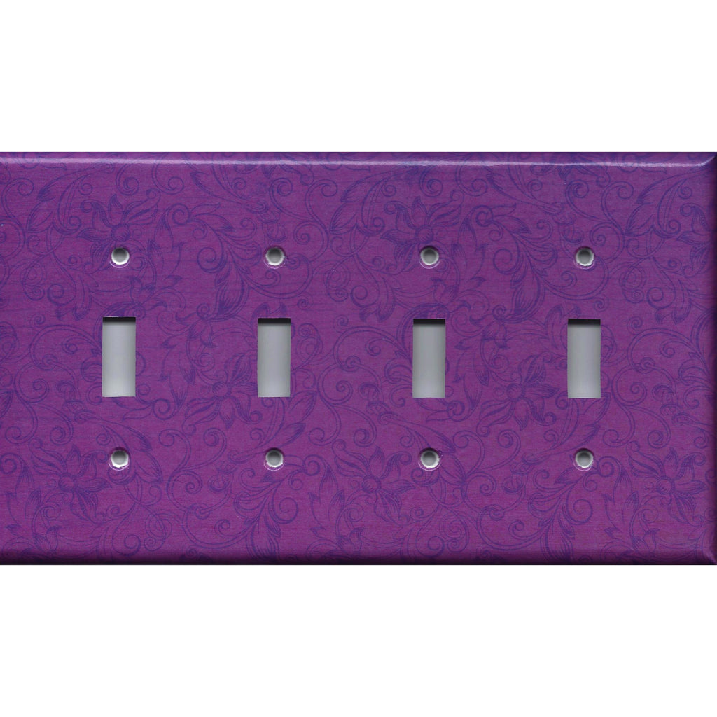 Quad Toggle Light Switch Cover in Violet Purple Floral Swirls