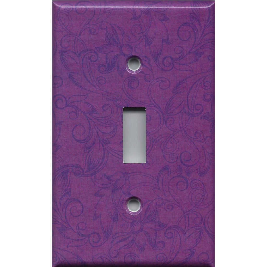 Violet Purple Floral Swirls Decorative Light Switch Plate Covers & Outlet Covers Handmade Home Decor Ideas