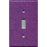 Single Toggle Light Switch Cover in Violet Purple Floral Swirls