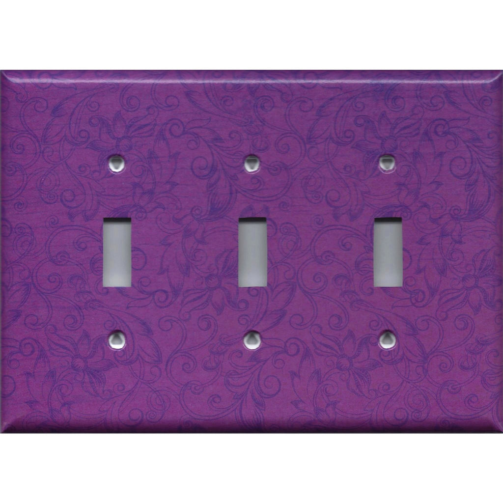 Violet Purple Floral Swirls Decorative Light Switch Plate Covers & Outlet Covers
