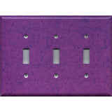 Triple Toggle Light Switch Cover in Violet Purple Floral Swirls