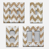 Farmhouse White Washed Barnwood Chevron Light Switch & Outlet Covers