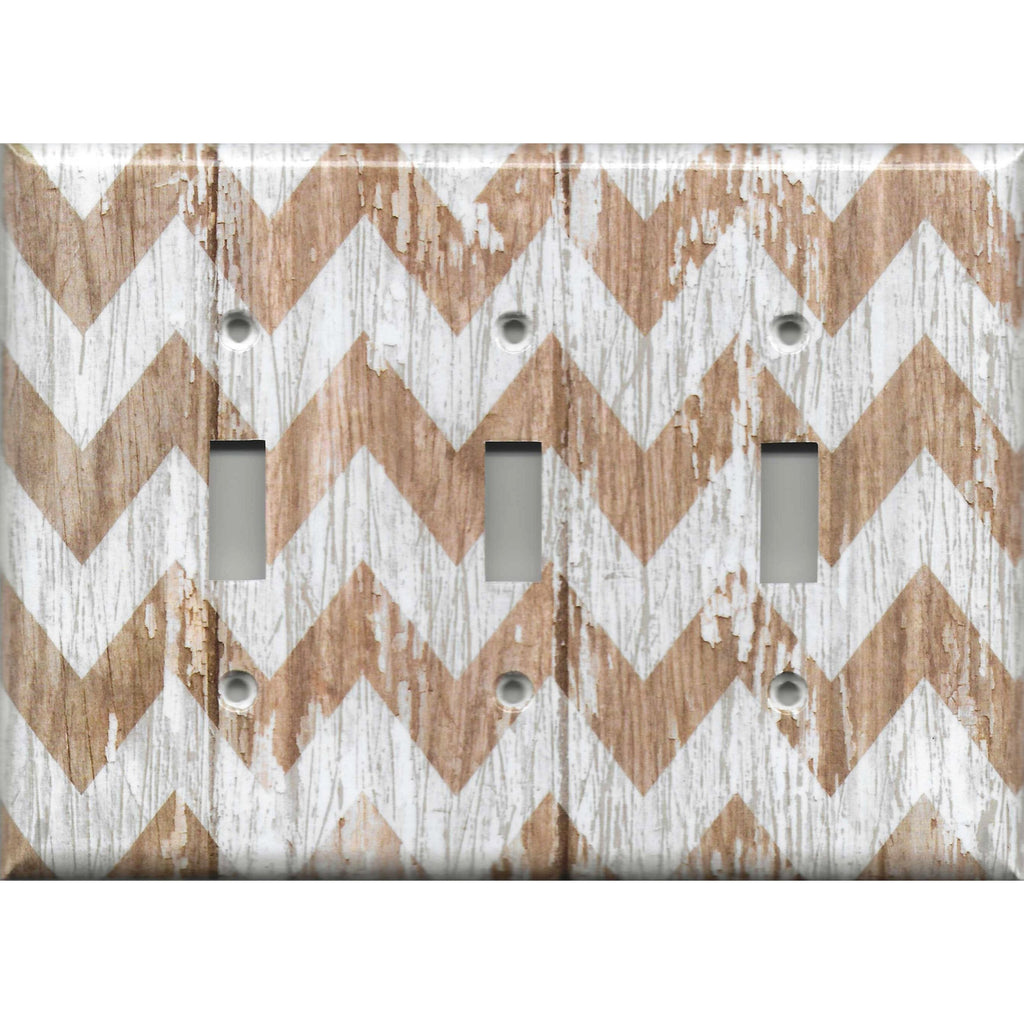 Triple Toggle Ligh Switch Cover in Farmhouse White Washed Barnwood Chevron