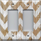 Double Rocker Decora Cover in Farmhouse White Washed Barnwood Chevron Handmade- Simply Chic Gal