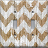 Double Toggle Ligh Switch Cover in Farmhouse White Washed Barnwood Chevron