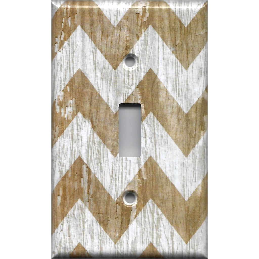 Single Light Switch Cover in Farmhouse White Washed Barnwood Chevron Handmade- Simply Chic Gal
