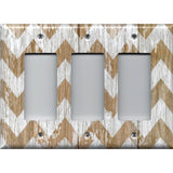 Triple Rocker Decora Cover in Farmhouse White Washed Barnwood Chevron Handmade- Simply Chic Gal