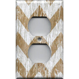 Wall Outlet Cover in Farmhouse White Washed Barnwood Chevron Handmade- Simply Chic Gal