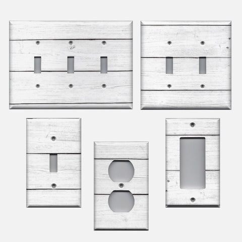 White Rustic Shiplap Farmhouse Decor Light Switch Plate Covers and Outlet Covers