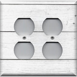 4 Plug Outlet Cover in White Rustic Shiplap Farmhouse Decor