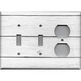 Combo 2 Toggle Light Switches and Outlet Cover in White Rustic Shiplap Farmhouse Decor