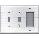 Combo 2 Toggle Light Switches and Rocker Cover in White Rustic Shiplap Farmhouse Decor