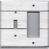 Combo Light Switch and Rocker Cover in White Rustic Shiplap Farmhouse Decor