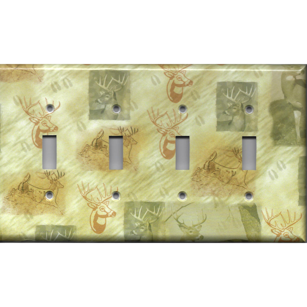 Quad Toggle Light Switch Cover in Whitetail Deer Log Cabin Decor