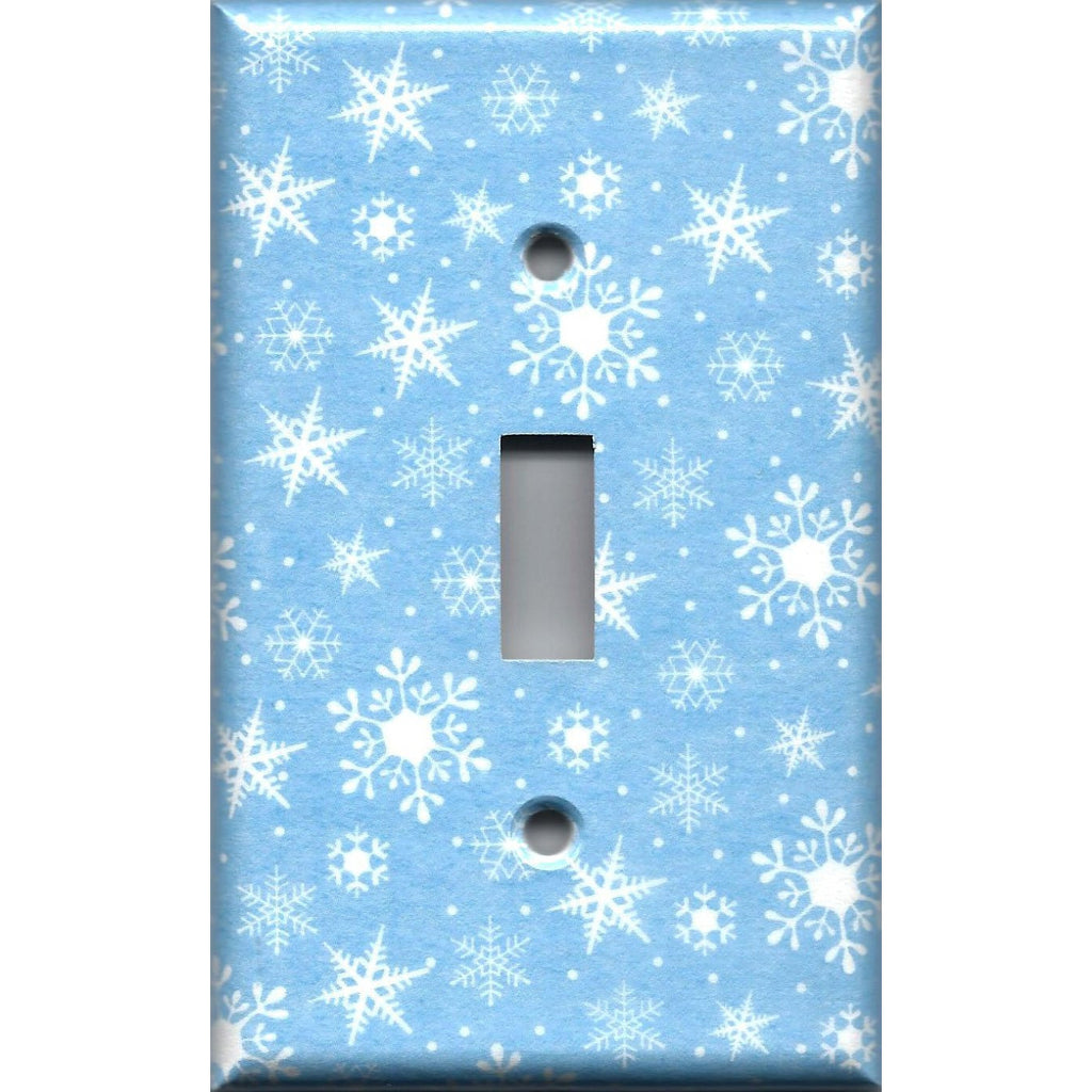 Let It Snow Winter Home Decor Snowflakes Single Toggle Light Switch Cover