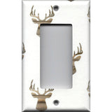 Single Rocker Decora GFI Outlet Cover in Rustic Farmhouse Woodland Deer Head