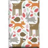 Single Blank Cover in Baby Girl Woodland Nursery Creatures Fox Deer Hedgehog