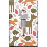 Single Toggle Light Switch Cover in Baby Girl Woodland Nursery Animals Handmade- Simply Chic Gal