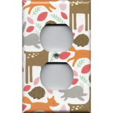 Wall Plate Outlet Cover in Baby Girl Woodland Nursery Animals Handmade- Simply Chic Gal