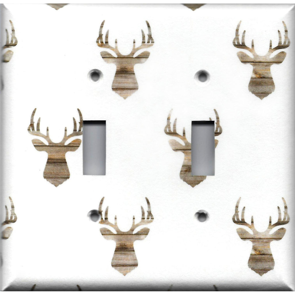 Double Toggle Light Switch Cover in Rustic Farmhouse Woodland Deer Head Print