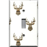 Single Toggle Light Switch Plate Cover in Rustic Farmhouse Woodland Deer Head Print