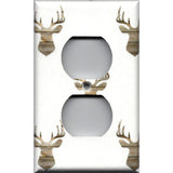Wall Outlet Plate Cover in Rustic Farmhouse Woodland Deer Head Print