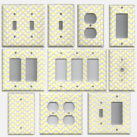 Light Yellow & Gray Geometric Circles Light Switch Covers & Outlet Covers
