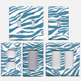 Turquoise Blue & White Zebra Animal Print Handmade Light Switch & Outlet Covers- Simply Chic Gal