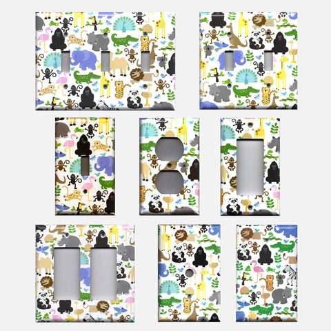 Zoo Jungle Animals Nursery Decor Handmade Light Switch Plates & Outlet Covers- Simply Chic Gal