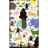 Single Toggle Light Switch Plate Cover in Zoo Jungle Animals Nursery Decor Handmade- Simply Chic Gal